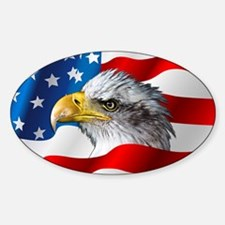 Bald Eagle On American Flag Decal