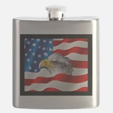 Bald Eagle On American Flag Flask