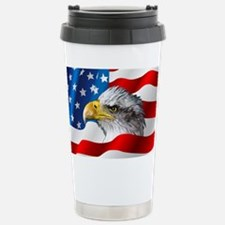 Bald Eagle On American Flag Travel Mug
