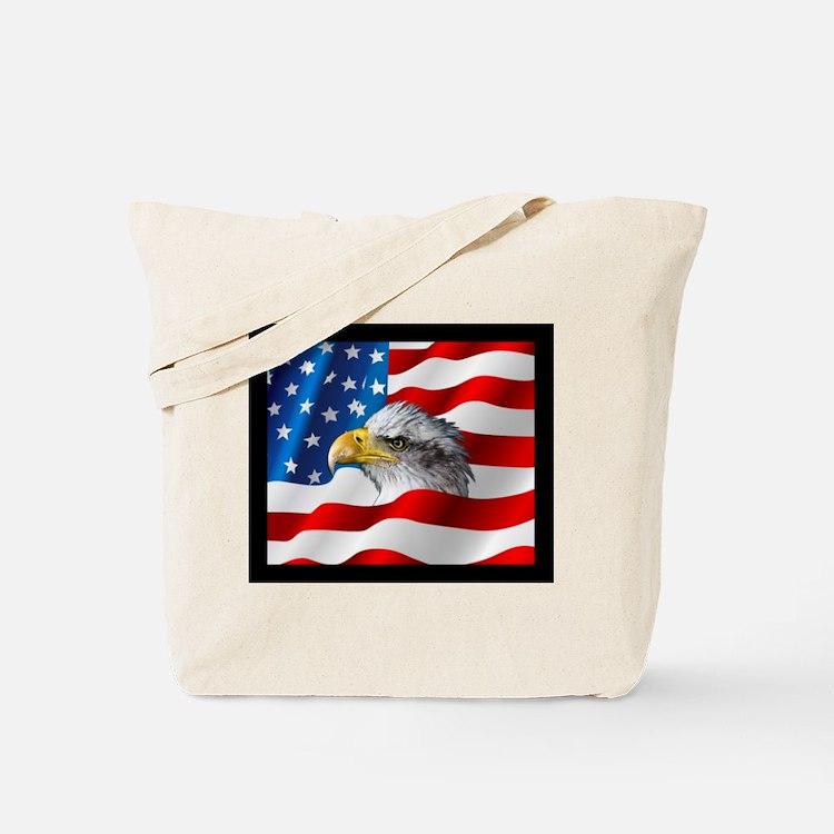 Bald Eagle On American Flag Tote Bag
