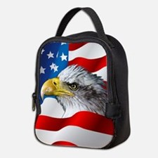 Bald Eagle On American Flag Neoprene Lunch Bag