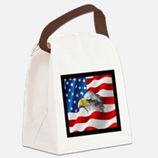 Bald Eagle On American Flag Canvas Lunch Bag