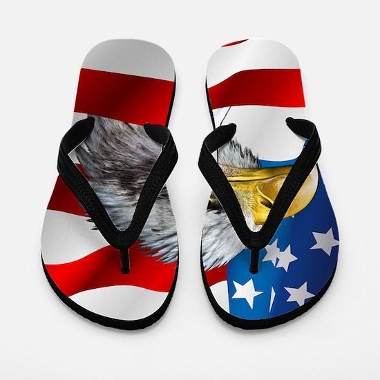 Bald Eagle On American Flag Flip Flops