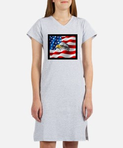 Bald Eagle On American Flag Women's Nightshirt