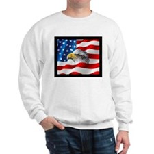 Bald Eagle On American Flag Sweatshirt
