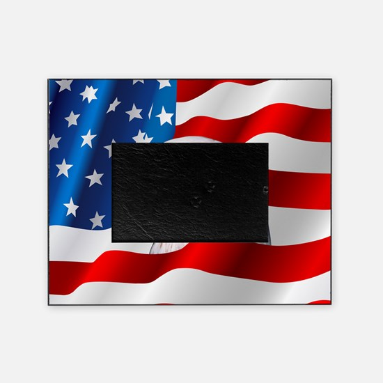 Bald Eagle On American Flag Picture Frame