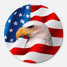Bald Eagle On American Flag Round Car Magnet