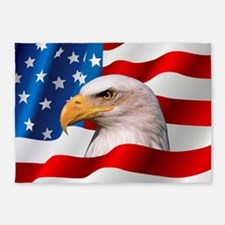 Bald Eagle On American Flag 5'x7'Area Rug