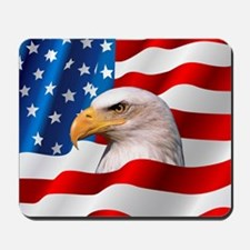 Bald Eagle On American Flag Mousepad