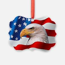Bald Eagle On American Flag Ornament