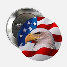 "Bald Eagle On American Flag 2.25"" Button"