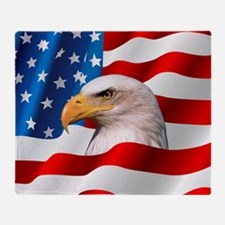 Bald Eagle On American Flag Throw Blanket