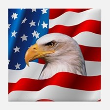 Bald Eagle On American Flag Tile Coaster