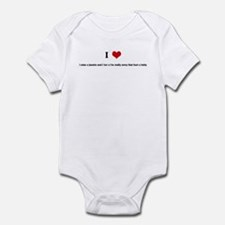 I Love i miss u jasmin and i  Infant Bodysuit
