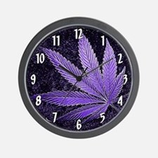 Purple Cannabis Leaf Wall Clock