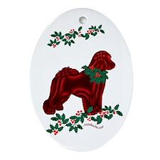 Bichon & Holly Oval Ornament
