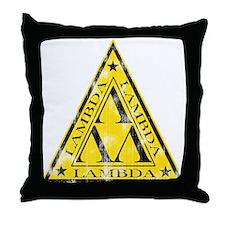 Worn Lambda Lambda Lambda Throw Pillow