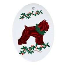 Bouvier & Holly Oval Ornament