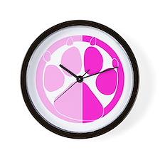 Pink Paw Print Wall Clock