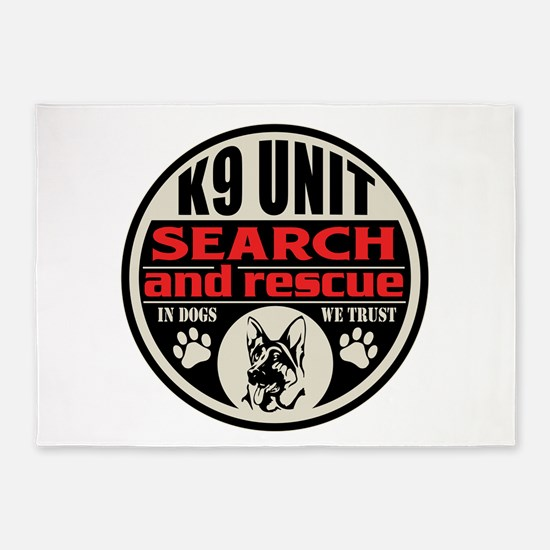 K9 Unit Search and Rescue 5'x7'Area Rug