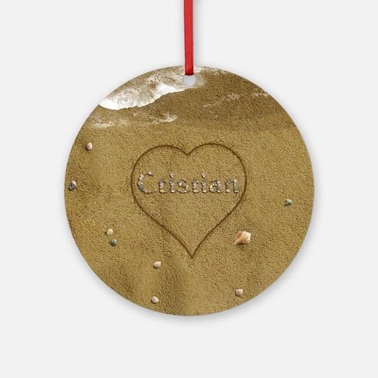 Cristian Beach Love Ornament (Round)