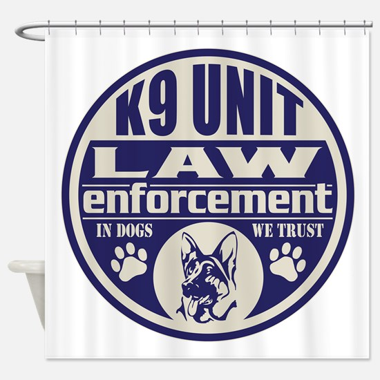 K9 In Dogs We Trust Blue Shower Curtain