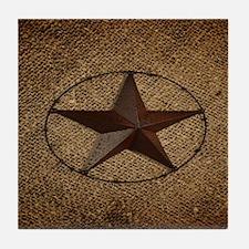 burlap western texas star Tile Coaster