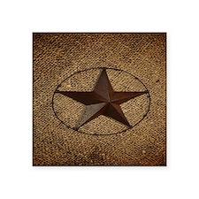 "burlap western texas star Square Sticker 3"" x 3"""