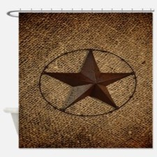 burlap western texas star Shower Curtain