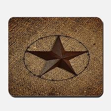 burlap western texas star Mousepad