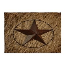 burlap western texas star 5'x7'Area Rug