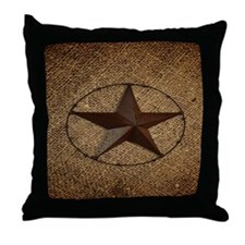 burlap western texas star Throw Pillow