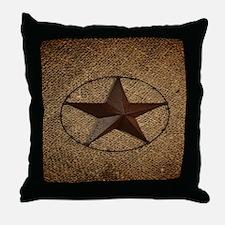 burlap western texas star Throw Pillow