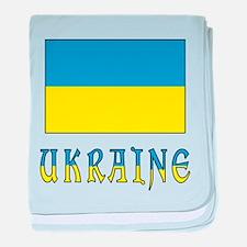 Ukraine Flag and Word baby blanket