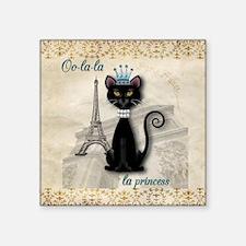 "Oo-la-la French Kitty Princ Square Sticker 3"" x 3"""