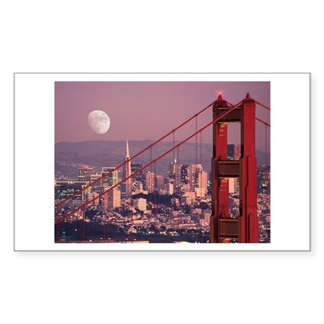 Moon Over The Gate Rectangle Sticker