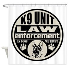 K9 In Dogs We Trust Black Shower Curtain