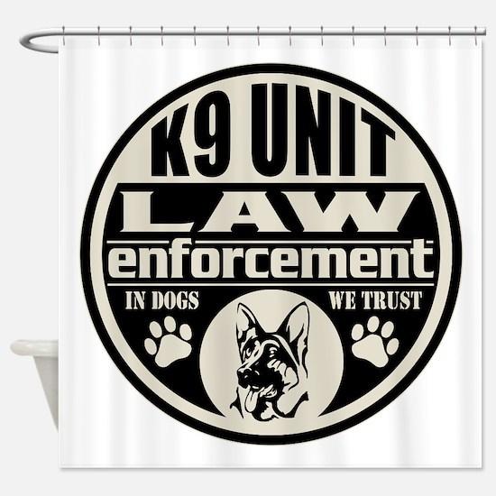 K9 In Dogs We Trust Black Shower Curtain