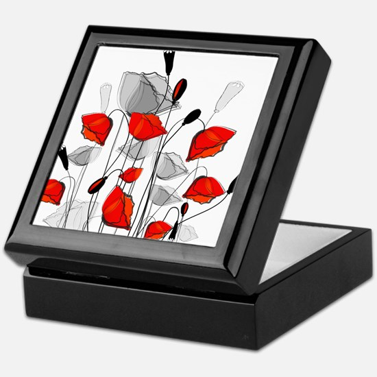 Beautiful Red Whimsical Poppies Keepsake Box