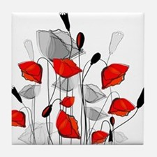 Beautiful Red Whimsical Poppies Tile Coaster