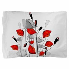 Beautiful Red Whimsical Poppies Pillow Sham