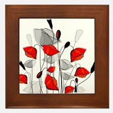 Beautiful Red Whimsical Poppies Framed Tile