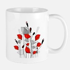 Beautiful Red Whimsical Poppies Mugs