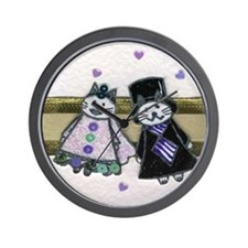 Bride and Groom Cats Wall Clock