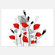 Beautiful Red Whimsical Poppies Invitations