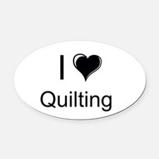 I Heart Quilting Oval Car Magnet