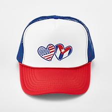 USA Cuba Patriotic Hearts Trucker Hat