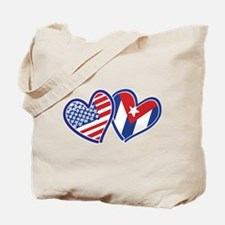 USA Cuba Patriotic Hearts Tote Bag
