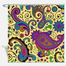 Yellow and purple paisley Shower Curtain
