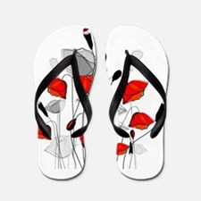 Beautiful Red Whimsical Poppies Flip Flops